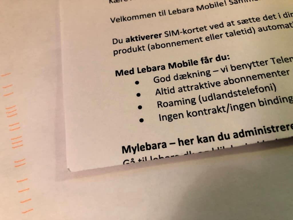 Velkomstbrev fra Lebara